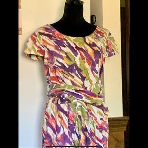 LP Watercolor Print Cotton Dress Fully Lined Chic